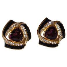 Large Faux Amethyst Earrings with Black Enamel