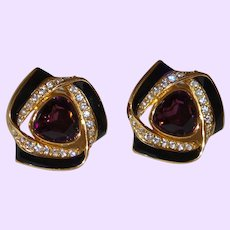 Large Faux Amethyst Earrings with Black Enamel