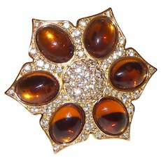 Signed Dior Topaz Cabochon Brooch