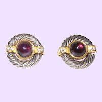 Signed Givenchy Amethyst Cabochon Earrings