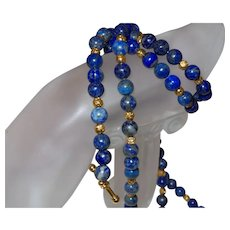 Hand Strung Lapis with 14 Karat Gold Plate Rondells