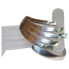 Mexican Sterling Silver and Abalone Hinged Cuff Bracelet