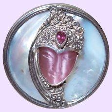 Sajen Goddess Brooch/Pendant with Rose Quartz Face