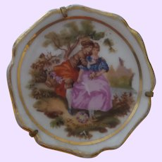 Vintage Limoges France Porcelain Brooch Courting Scene