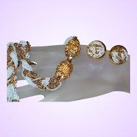 Signed Eisenberg Twisted Metal Necklace Set