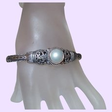 Vintage Bali Silver Bracelet with Cultured Pearl Cabochon