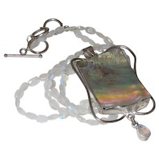 Hand Strung Cloudy Quartz Necklace With Abalone Shell Pendant