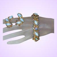 D&E Juliana Bracelet Set in Blue and White Striped Stone