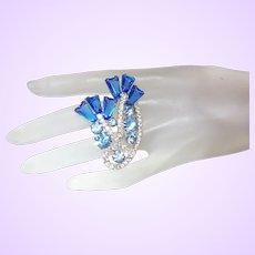 D&E Juliana Sea Blue Keystone Brooch with AB Crystals and Rhinestones