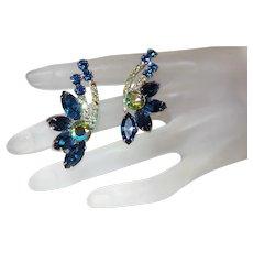D&E Juliana Sapphire Blue Ear Climber Earrings