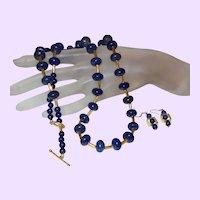 Hand Strung Lapis Lazuli Opera Length Necklace