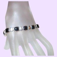 Signed Vintage Black Onyx and Silver Bracelet