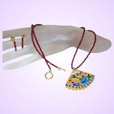 Hand Strung Carnelian Necklace with Enamel Pendant