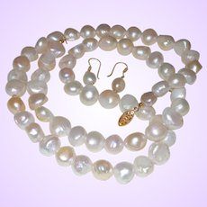 Hand Strung Opera Length Cultured Potato Pearl Necklace with 14 Karat Gold Plate Clasp