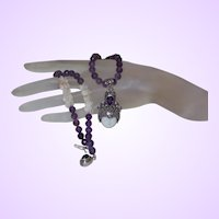 Hand Strung Amethyst and Antique White Coral with Large Sterling Goddess Pendant