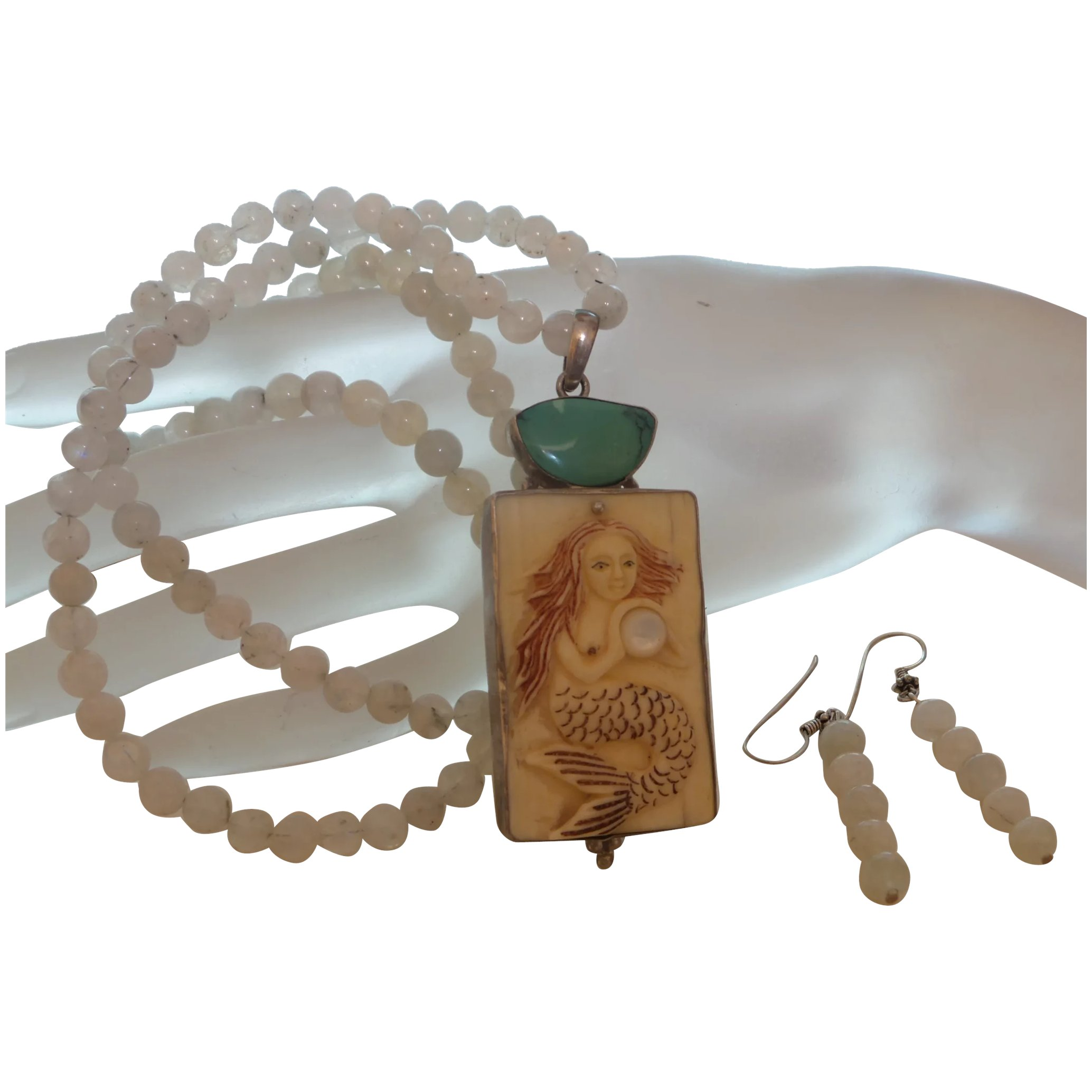 Hand Strung Moonstone Necklace With Carved Bone Pendant Set In Silver Nola Pearl Girls Ruby Lane