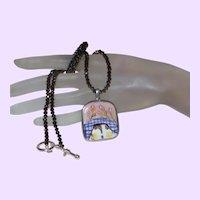 Hand Paint Signed Porcelain Pendant with  Aurora Borealis Beaded Necklace