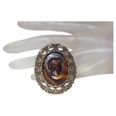 Signed Miracle Glass Cameo Brooch/Pendant
