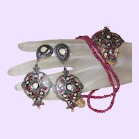 Ethnic Pendant and Earrings with Rough Uncut Diamonds and Natural Rubies