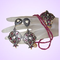 Hand Strung Ruby Necklace with Ethnic Pendant and earrings