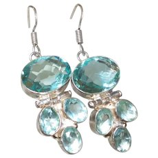Ethnic Blue Topaz and Apatite Earrings