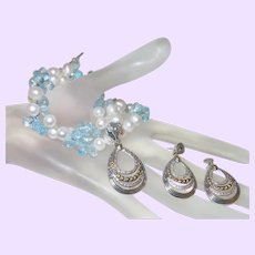 Ethnic Cultured Pearl, Blue Topaz and Diamond Necklace with Pendant and Earrings