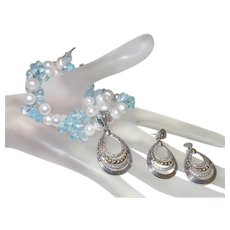 Hand Strung Cultured Pearl, Blue Topaz and Diamond Necklace with Pendant and Earrings