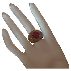 Vintage Faux Ruby Ring with Zirconia Diamonds in Silver Tone Metal