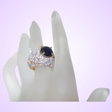 Vintage Dark Blue Faux Sapphire Ring With Zirconia Diamonds in Gold Tone Metal