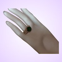 Ethnic Lab Created Emerald Ring Set in 14K Gold Plate