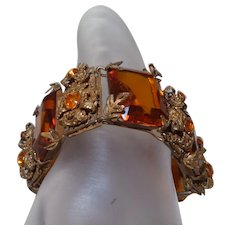 Victorian Revival Bracelet with Fiery Orange Rhinestones and Gold Tone Metal