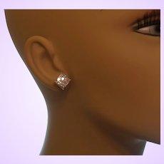 Estate 14 Karat White Gold Diamond Earrings