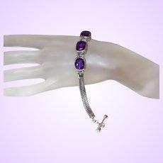 Ethnic Deep Purple Amethyst Bracelet in Silver