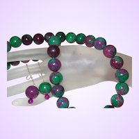 Hand Strung Ruby Zoisite Necklace with Dangle Earrings