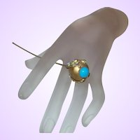 Antique Brass Victorian Hat Pin With Persian Blue Cabochon