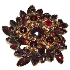 Juliana Delizza & Elster Deep Red Rhinestone Brooch