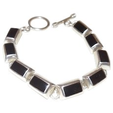 Signed Mexico 925 Silver Onyx Bracelet