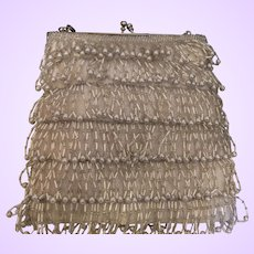 Vintage Signed Richere Bugle Bead Evening Bag