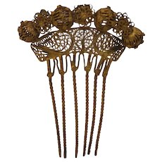 Vintage Victorian revival Gold Tone Hair Comb