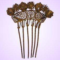 Vintage Victorian revival Gold Tone Hair Comb