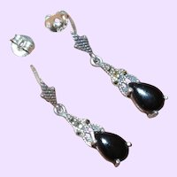 Art Deco Onyx and Marcasite Drop Earrings