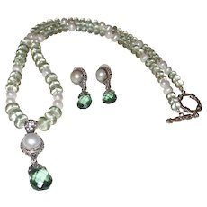 Bali Silver Pendant with Cultured Mabe Pearl and Green Amethyst