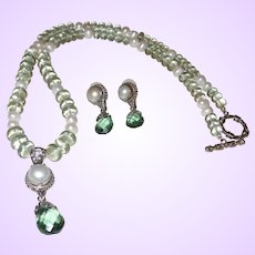 Bali Silver Cross with Cultured Mabe Pearl and Green Amethyst