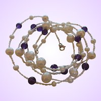 Sterling Silver Cultured Pearl Necklace with Purple Amethysts