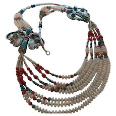 Ethnic Nepal Necklace with Turquoise, Coral, Lapis, Jasper and Bone