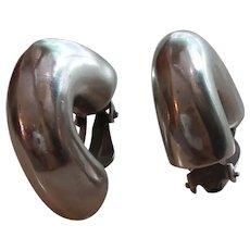 Estate 1/2 Hoop Sterling Silver Earrings