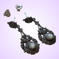 Victorian Revival Moonstone and Marcasite Dangles