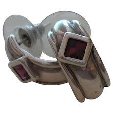 Wide 1/2 Hoop Sterling Silver Earrings With Amethysts