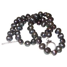 Peacock Grey Color Cultured Potato Pearl Necklace