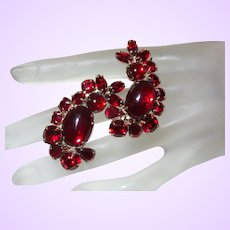 Vintage Large Red Cabochon Earrings